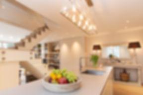 London Townhouse kitchen open stairway lighting