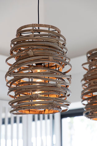 Private Residence St Barth's pendant lights woven rattan