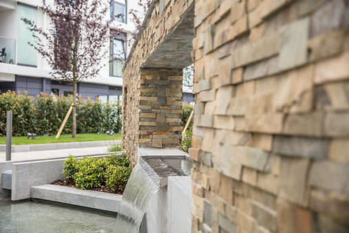 Shoreditch apartment exterior water feature