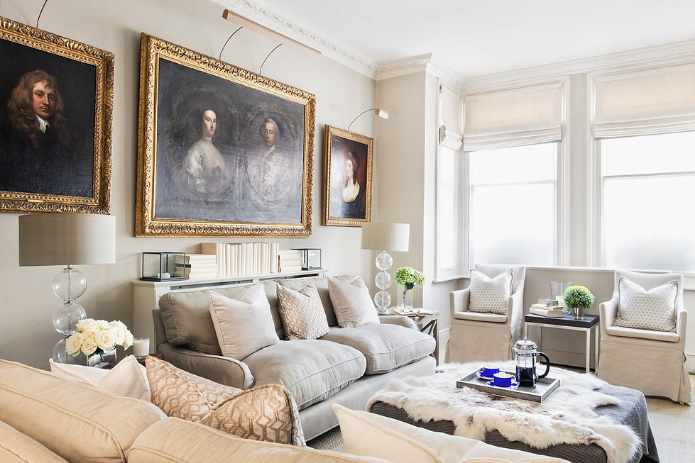 London Townhouse sitting room living room lounge neutral furnishings artwork books accessories