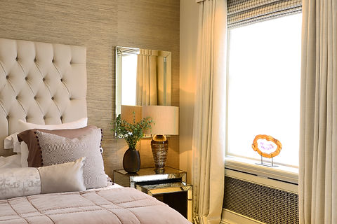 Chelsea Townhouse bedroom luxurious upholstered headboard antiqued glass side tables