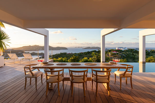 Private Residence St Barth's Dining outdoor views modern architecture infinity pool