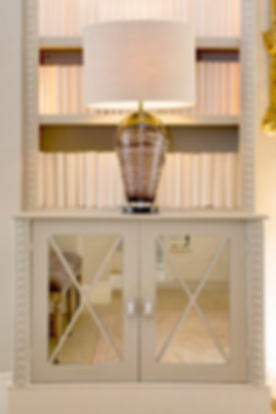 London Townhouse bookshelf mirror inset lighting details