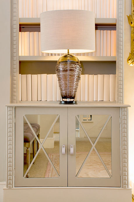 London Townhouse bookshelf mirror inset lighting details