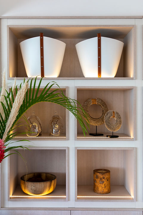 Private Residence St Barth's shelving bespoke joinery lighting leather buckets