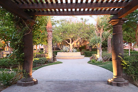 Resort Hotel Mexico exterior palm trees columns walkway