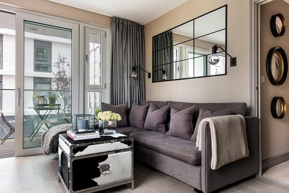 Shoreditch apartment black white grey texturs modern living room lounge mirrors