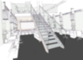 Charles Worthington Salon Fitzrovia conceptual drawing stairway double height space