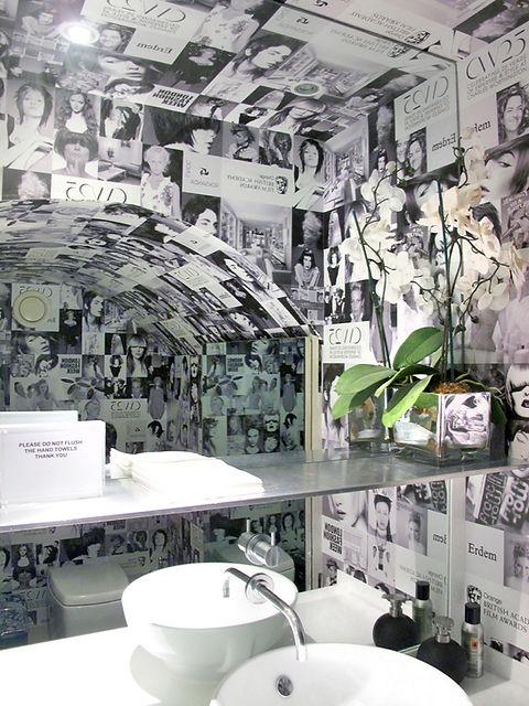 Charles Worthington Salon Fitzrovia bathroom water closet black and wite print details
