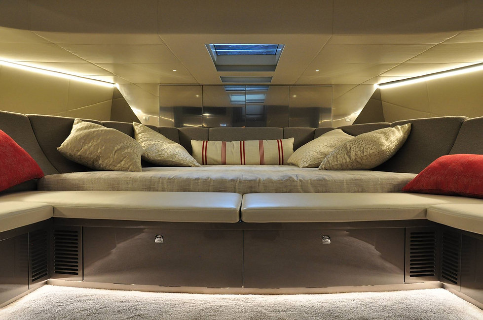 Private Yacht interior design luxury bedroom throw pillows below the decks