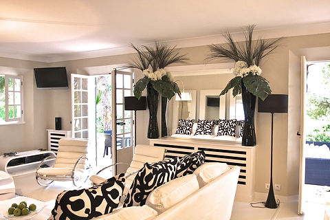 St Tropez Villa France living room sitting room lounge black and white modern