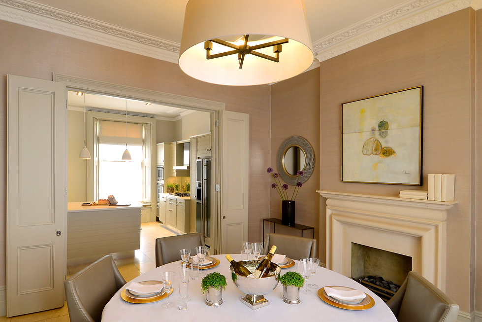 Chelsea Townhouse Dining Room fireplace artwork kitchen