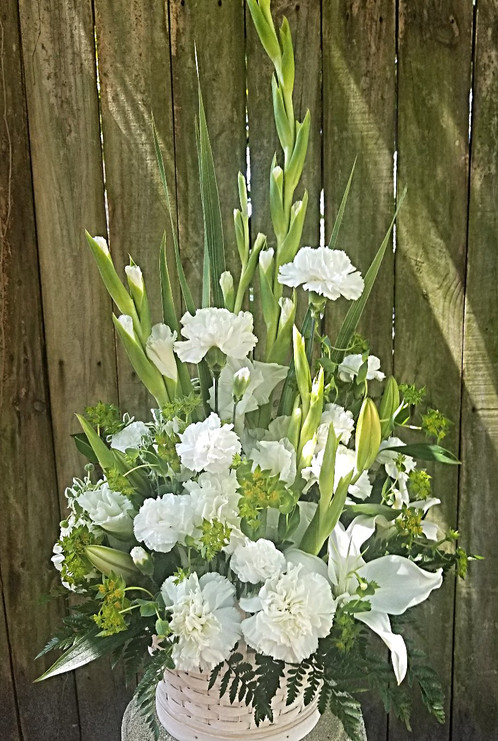 Classic white arrangement for sympathy a beautiful basket arrangement highlighted with white carnations lilys and gladiolous flowers may vary depending on season but the flowers will always be mightylinksfo