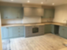 Bespoke kitchen painted with Little Gree