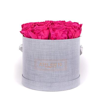 15 Roses Eternelles Fuschia Peps - Box Ronde Gris Chiné XL