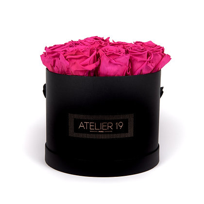 15 Eternal Roses - Fuchsia Peps - XL Black Round Box