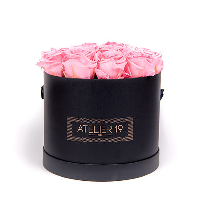 15 Eternal Roses - Soft Pink - XL Black Round Box
