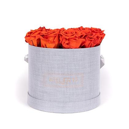 15 Roses Eternelles Orange Vibrant - Box Ronde Gris Chiné XL