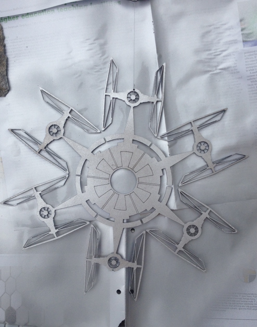Laser cut MDF Star Wars snow flake