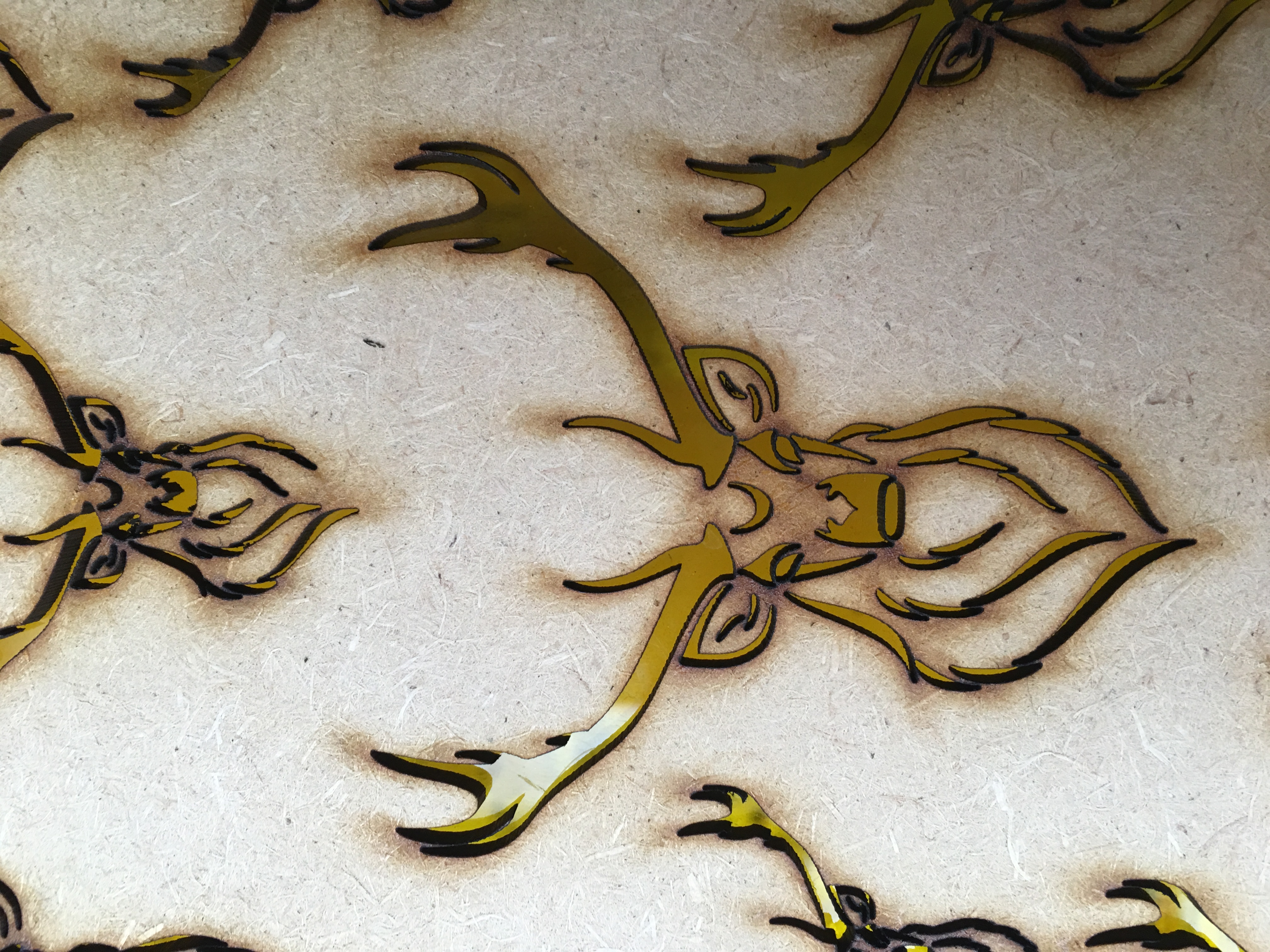 Laser cut MDF stag detail