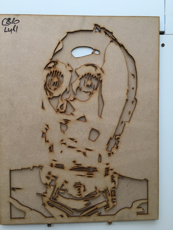 Laser cut MDF robot stencil