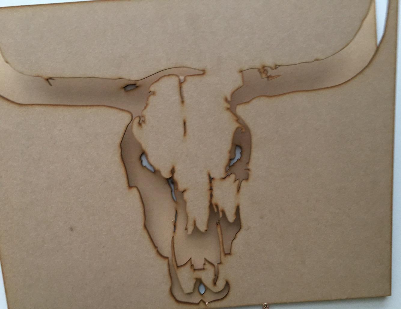Laser cut MDF Bison stencil.
