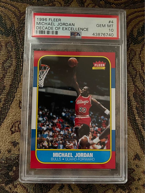 1996 FLEER MICHAEL JORDAN DECADE OF EXCELLENCE #4 PSA 10 1986-1996