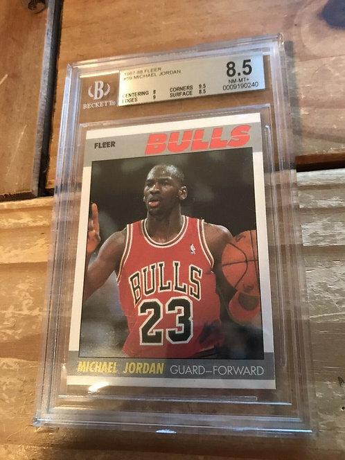 MICHAEL JORDAN 1987/88 FLEER 2ND YEAR CARD #59 CHICAGO BULLS BGS 8.5 NM-MT+