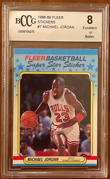 "1988-89 FLEER MICHAEL JORDAN #7 STICKER BECKETT BCCG ""8"" EXCELLENT"