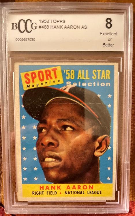 """1958 TOPPS HANK AARON ALL-STAR #488 BECKETT (BCCG) """"8"""""""