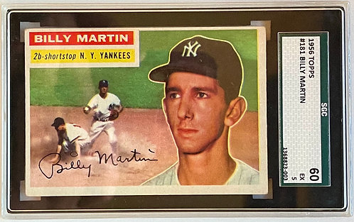 """1956 TOPPS BILLY MARTIN #181 SGC """"5"""" EXCELLENT"""