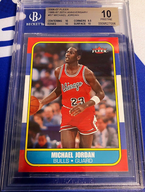 """2006-07 FLEER 1986-87 MICHAEL JORDAN 20th Anniversary Rookie BGS """"10"""" POP 1"""