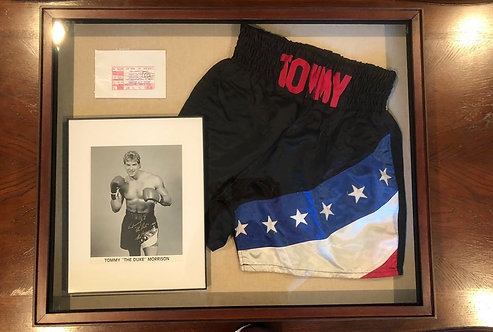 "Tommy ""The Duke"" Morrison framed memorabilia ORIGINAL BOXING TRUNKS"