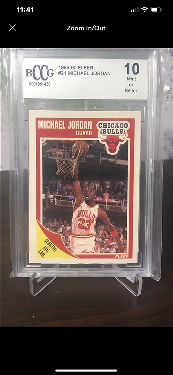 "1989-90 FLEER MICHAEL JORDAN #21 BECKETT (BCCG) ""10"""