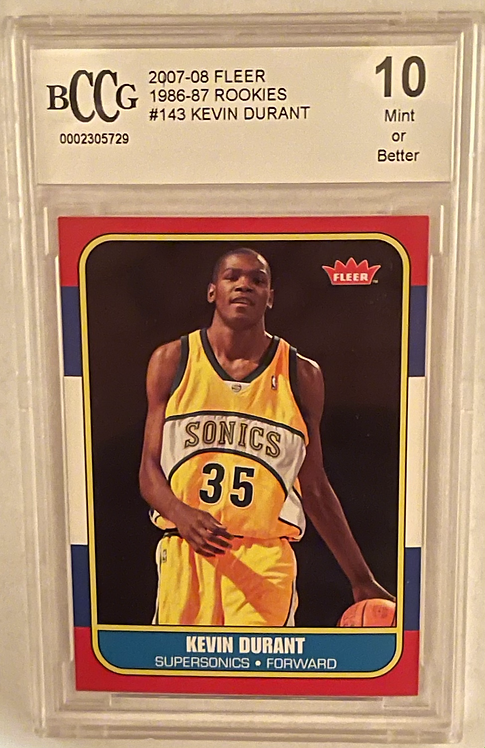 """2007 Fleer '86 Rookies KEVIN DURANT ROOKIE YEAR RC #143 Beckett BCCG """"10""""MINT"""
