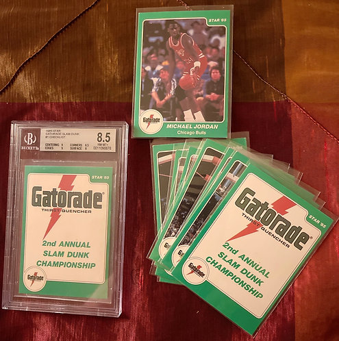 "STAR '85"" GATORADE MICHAEL JORDAN 2ND ANNUAL SLAM DUNK CHAMPIONS CARDS FULL SET"