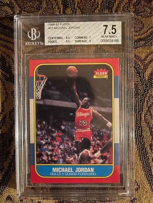 """1986 FLEER MICHAEL JORDAN ROOKIE #57 BECKETT BGS """"7.5"""" NEAR MINT"""