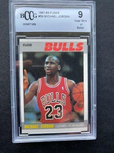 1987-88 FLEER MICHAEL JORDAN #59 CHICAGO BULLS BCCG 9 NM or Better GREAT APPEAL