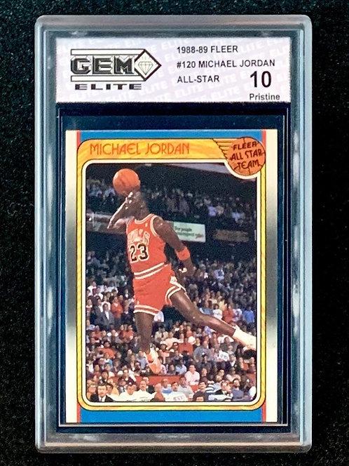 """1988-89 Fleer Michael Jordan  All-Star #120 GEM Elite PERFECT """"10"""" LAST DANCE!"""