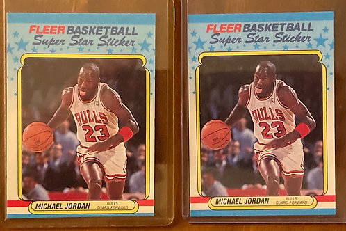 1988-89 FLEER MICHAEL JORDAN #7 STICKER RAW (2)EACH PSA 10?