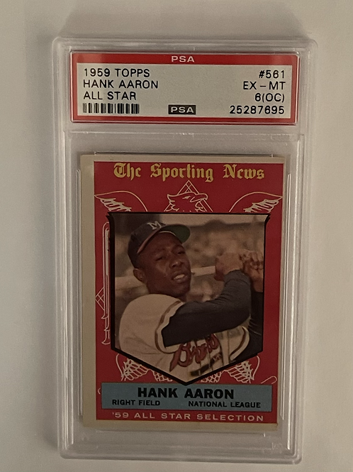"1959 TOPPS HANK AARON ALL-STAR #561 PSA ""6"" (OC) EX-MT"