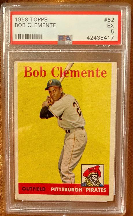 """1958 TOPPS BOB CLEMENTE #52 PSA """"5"""" EXCELLENT"""