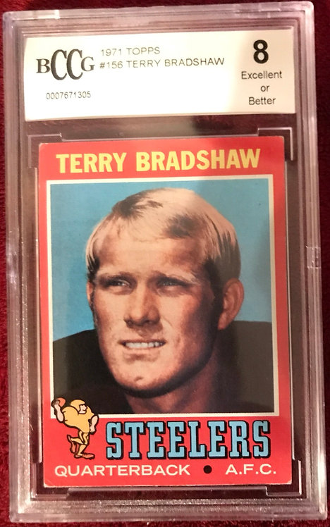 "1971 TOPPS TERRY BRADSHAW ROOKIE CARD #156 BECKETT (BCCG) ""8"""