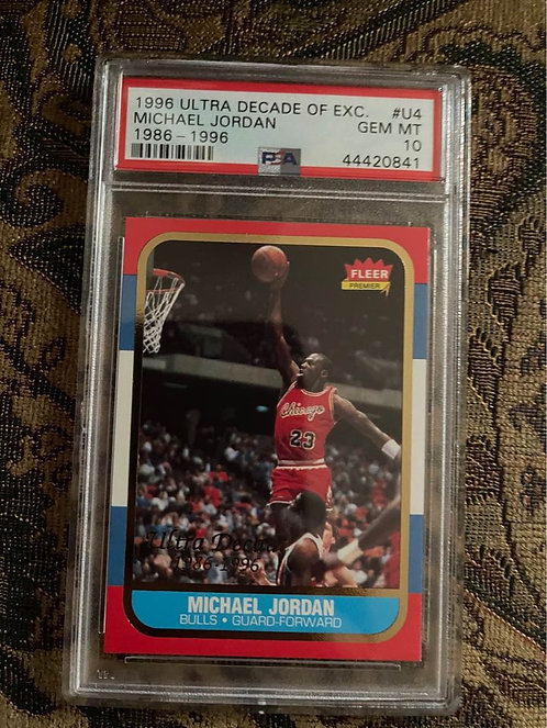 1996 ULTRA DECADE OF EXCELLENCE MICHAEL JORDAN GOLD #U4. 1986-1996