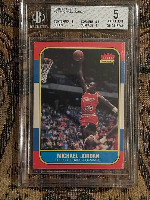 "1986 FLEER MICHAEL JORDAN #57 BECKETT ROOKIE CARD BGS ""5"" EXCELLENT"
