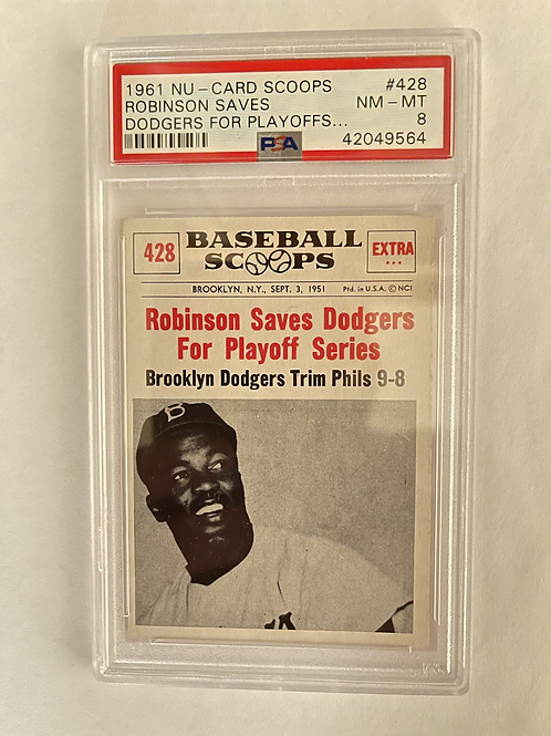 "1961 NU - CARD SCOOPS JACKIE ROBINSON SAVES DODGERS FOR PLAYOFFS #428 PSA ""8"""