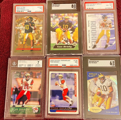 TOM BRADY ROOKIE YEAR LOT FOR SALE! HOT! This is for 6 Graded and Authenticated