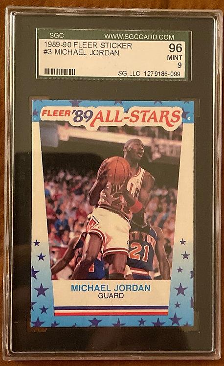 "1989-90 FLEER MICHAEL JORDAN STICKER #3 SGC ""9"" MINT"