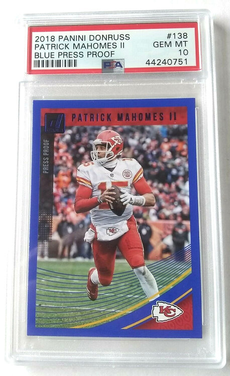 "2018 Panini Donruss PATRICK MAHOMES II BLUE PRESS PROOF ""PSA 10"" POroduct"