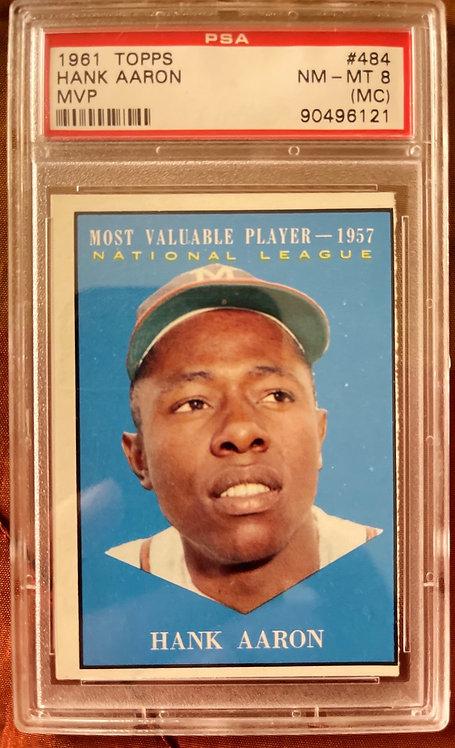 """1961 TOPPS HANK AARON MVP #484 PSA """"8"""" (MC)"""